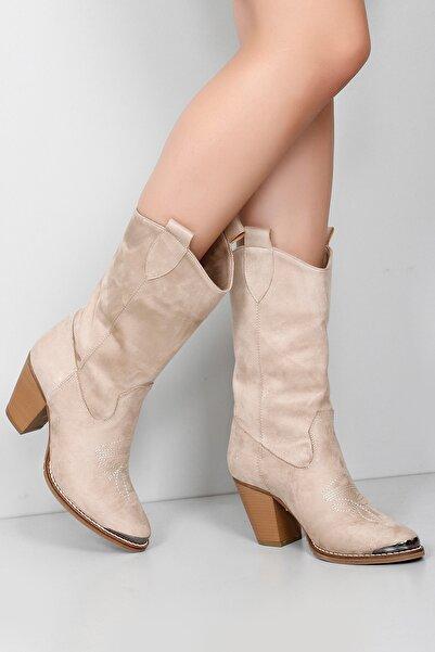 GÖNDERİ(R) Gön Vizon Süet Sivri Burun Topuklu Western Kovboy Günlük Kadın Çizme 32301