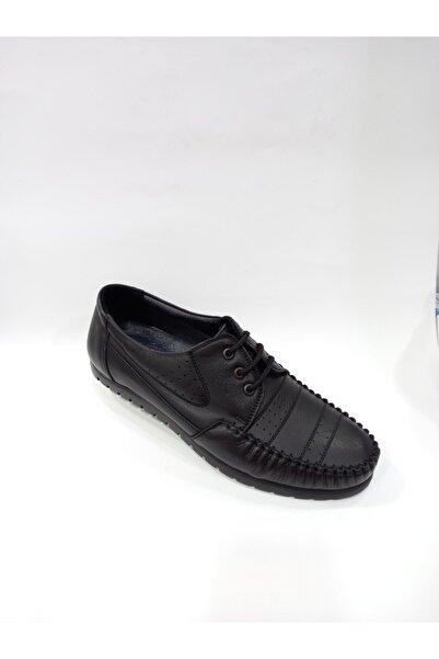 Modesa 157 Siyah Hakiki Deri Ortopedik Kauçuk Taban Erkek Günlük Ayakkabı