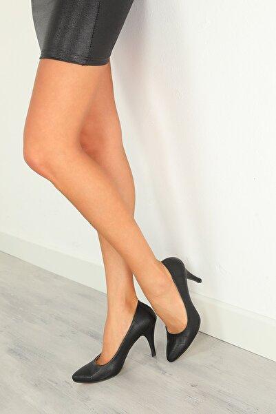 julude Kadın Siyah Stiletto Topuklu Ayakkabı