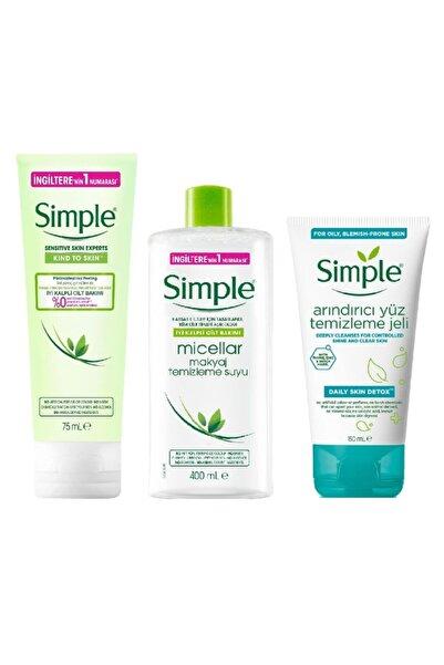 Simple Sımple Makyaj Temızleme Suyu 400ml + Yuz Temızleme Jelı 150ml + Peelıng 75ml