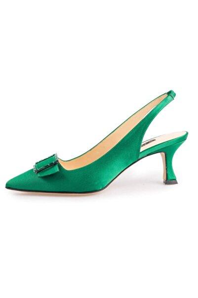 Flower Yeşil Saten Toka Detaylı Abiye Ayakkabı