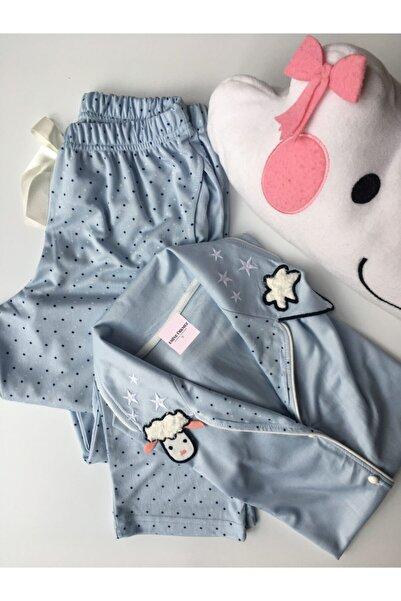 emineurkmez.eu Kadın Mavi Yakası Kuzu Detaylı Pijama Takımı