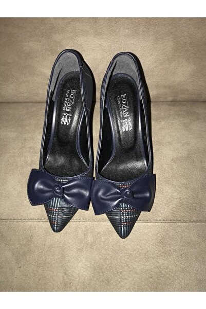 trend butikk Kadın Ekose Desenli Topuklu Ayakkabı