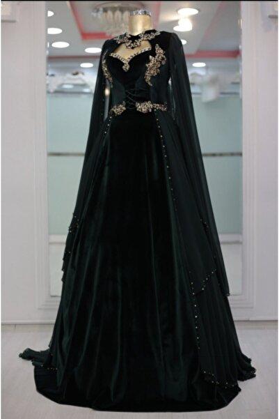 Bindallı modeli Kadın Yeşil  Kadife Abiye Bindallı