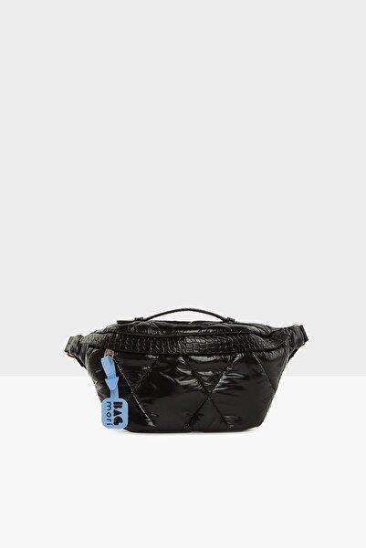 Bagmori Kadın Rugan Siyah Kapitone Şişme Bel Çantası