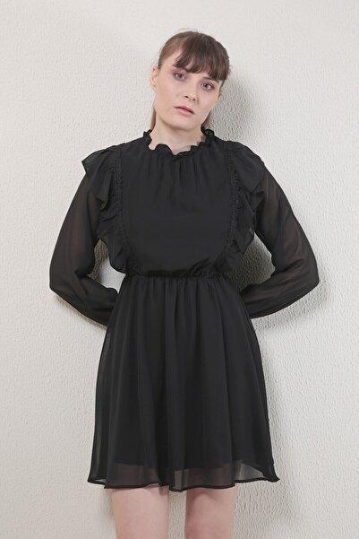 Reyon Kadın Siyah Fırfırlı Şifon Elbise  20830001C1B