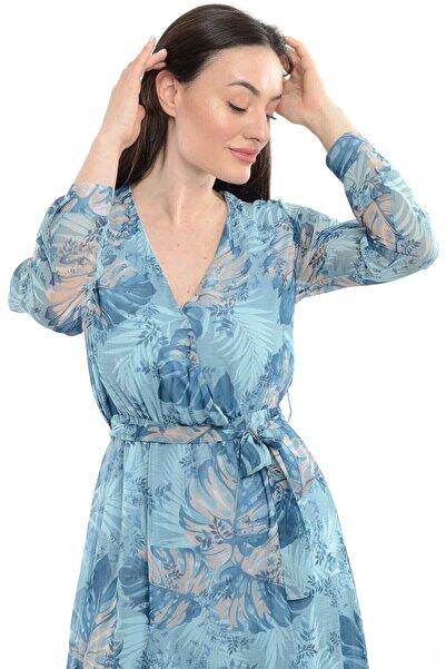 Reyon Kadın Mavi Kruvaze Yaka Desenli Şifon Uzun Elbise  20765005XXX