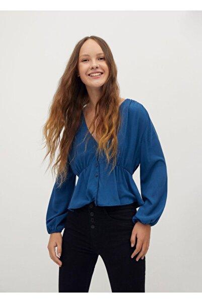 MANGO Kids Kadın Mavi Büzgülü Dökümlü Bluz