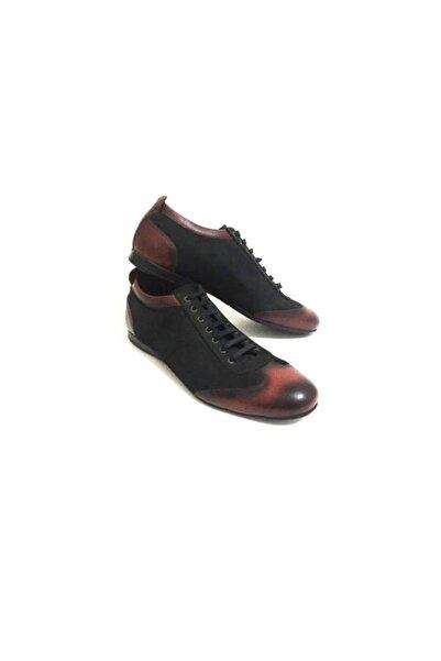 Erdem Siyah Bordo Detay Bağcıklı Hakiki Deri Erkek Günlük Casual Ayakkabı