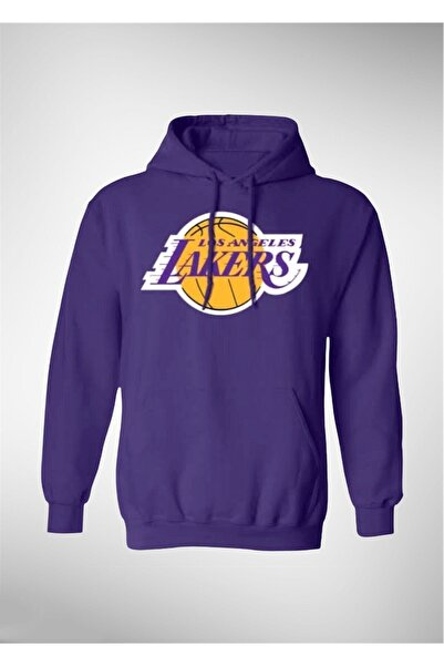 Okeanos Los Angeles Lakers Baskılı Mor Basketbol Sweatshirt