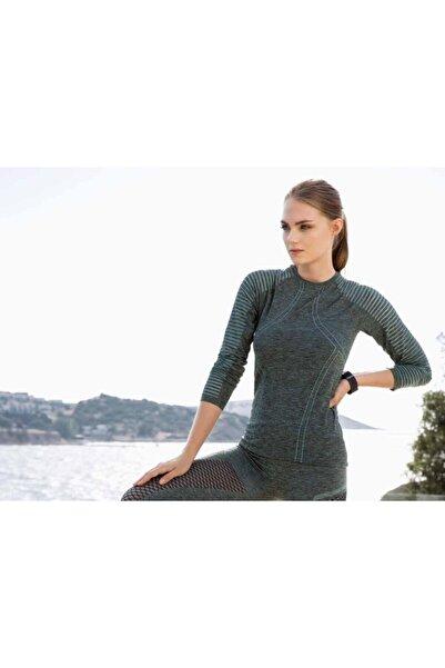 Yeni İnci Kadın Yeşil Melanj Sporcu Uzun Kol T-shırt