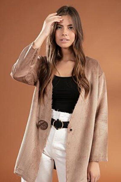 Kadın Bej Düğme Detaylı Fitilli Kadife Ceket 38069
