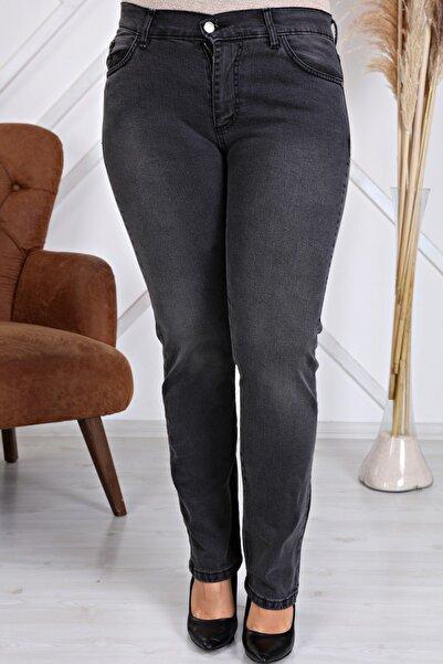 Gül Moda Kadın Antrasit Yüksek Bel Boru Paça Kot Pantolon Jeans G035-1