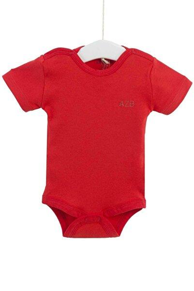 Aziz Bebe Kız Bebek Kırmızı Kısa Kollu Çıtçıtlı Badi 12-36 Ay Azz001652