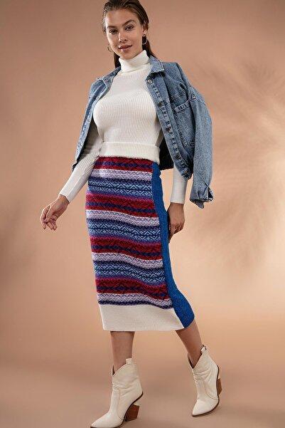 Y-London Kadın Renkli Etnik Desenli Triko Etek 80158