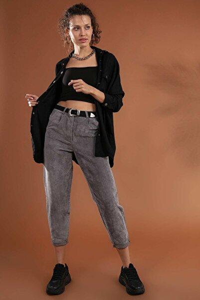 Y-London Kadın Gri Duble Paça Cepli Kadife Pantolon 10431-1