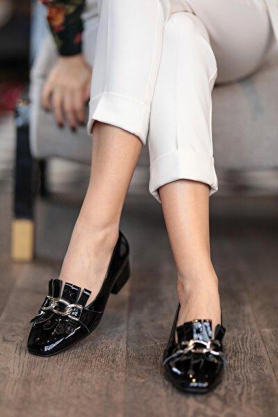 Mio Gusto Lottie Siyah Rugan Topuklu Ayakkabı