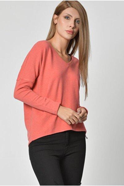 Cotton Candy Kadın Nar Çiçeği V Yaka Uzun Kol  T-Shirt