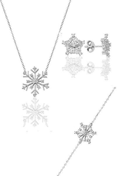 Söğütlü Silver Gümüş Rodyumlu Kartanesi Modeli Üçlü Set