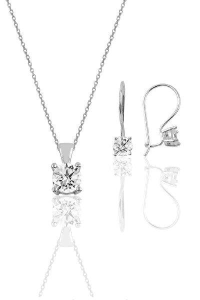 Söğütlü Silver Gümüş rodyumlu tek taş  kolye ve çengelli küpe gümüş  set