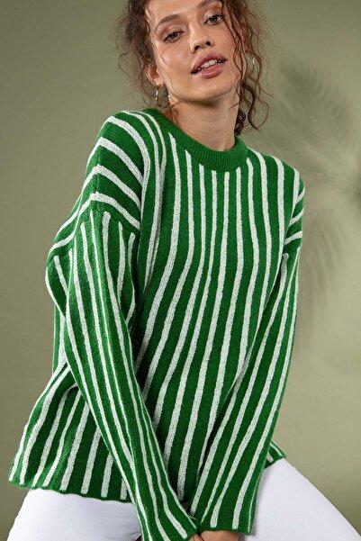 Y-London Kadın Yeşil Çizgili Düşük Kol Triko Kazak 80028