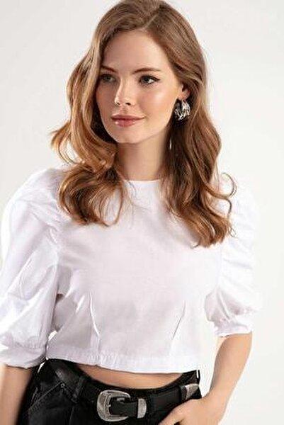 Kadın Arkadan Fermuarlı Balon Kol Bluz Y20s126-10539