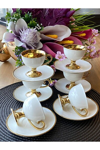 Sembol Gold Beyaz Kahve Fincanı Victoria 6 Kişilik