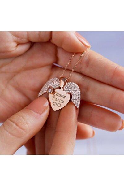 Sorti Takı 925 Ayar Gümüş Isimli Tek Taş Açılır Kanatlı Kalp