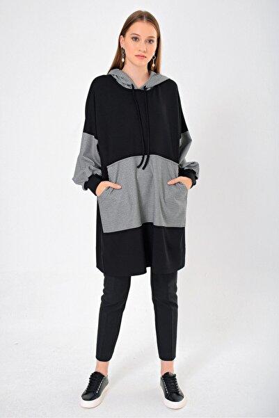 Aker Kadın Siyah Kazayağı Desenli Tunik Y151340555