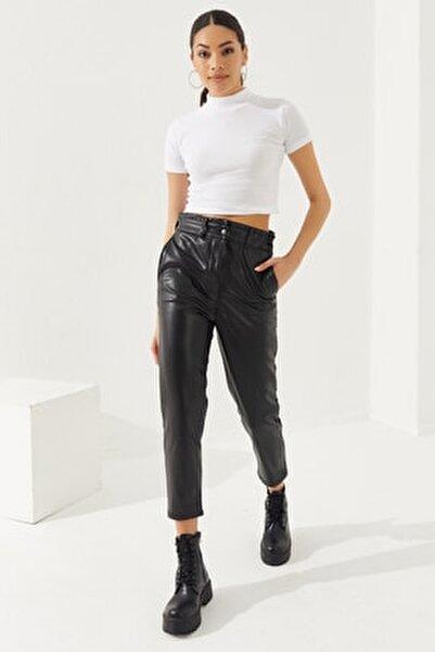 Kadın Siyah Suni Deri Pantolon