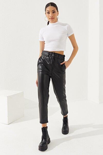 Reyon Kadın Siyah Suni Deri Pantolon