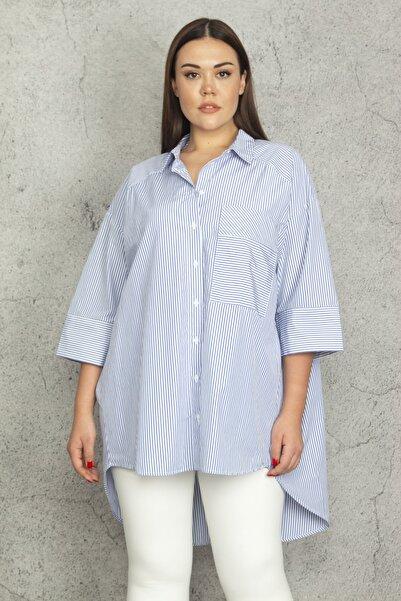 Şans Kadın Mavi Oversize Çizgili Koton Gömlek 65N20742