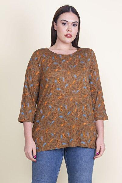 Şans Kadın Hardal Viskon Çiçekli Bluz 65N21053-1