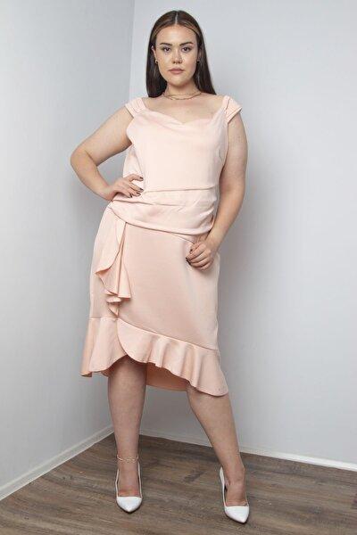 Şans Kadın Pudra Bel Drapeli Elbise 65N20729