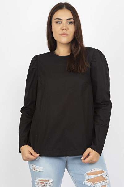 Şans Kadın Siyah Poplin Bluz 65N20826