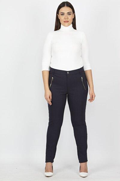 Şans Kadın Lacivert Fermuar Detaylı Pantolon 65N20932