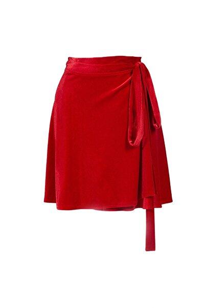 Keikei Kadın Kırmızı Kadife Kısa Etek