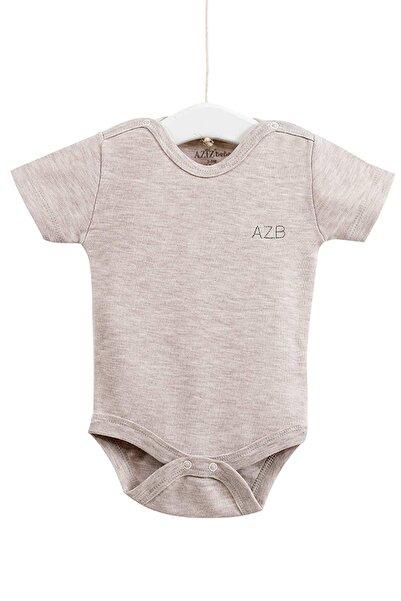 Aziz Bebe Unisex Bebek Bej Çıtçıtlı Kısa Kollu Badi 0-12 Ay 1651