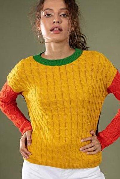 Kadın Sarı Bisiklet Yaka Ön Kol Arka Renkli Kazak 80131