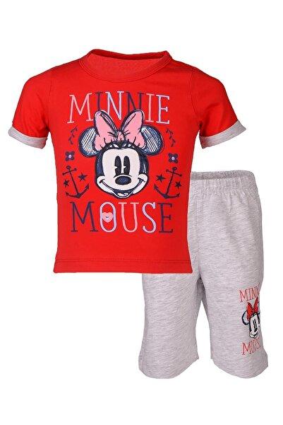 MINNIE Kız Çocuk Kırmızı Disney Lisanslı Minnie Mouse Pijama Takımı 1-8 Yaş L9546