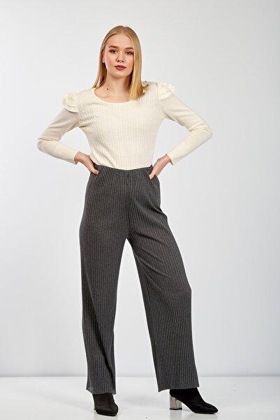 Zoze Tekstil Kadın Füme Beli Lastikli Pantolon