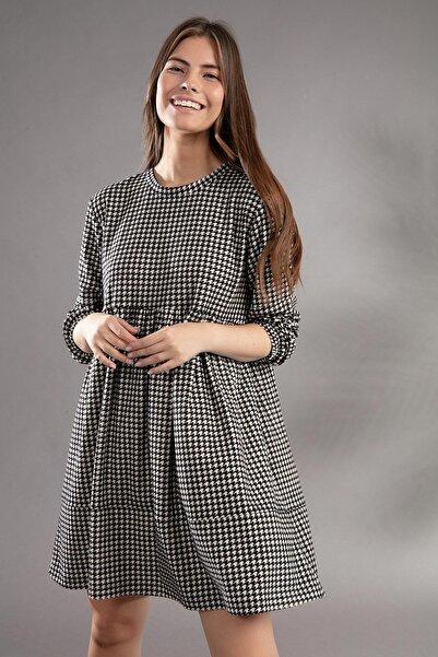 Y-London Kadın Siyah Beyaz Kazayağı Desenli Uzun Kollu Günlük Elbise Y20W110-2113