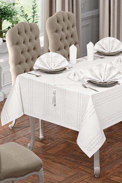 BİRHOME Lüx Colber Masa Örtüsü Seti 12 Kişilik Colber (beyaz)