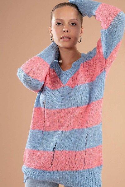 Y-London Kadın Mavi V Yaka Çizgili Yırtıklı Kazak 80151