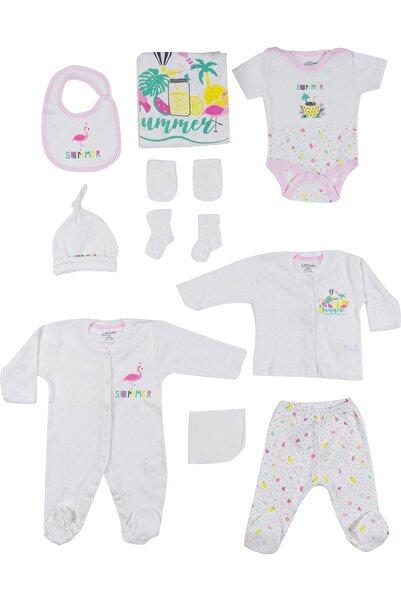 Aziz Bebe Kız Bebek Ekru 10'lu Hastane Çıkış Seti 0-3 Ay Azz-010200