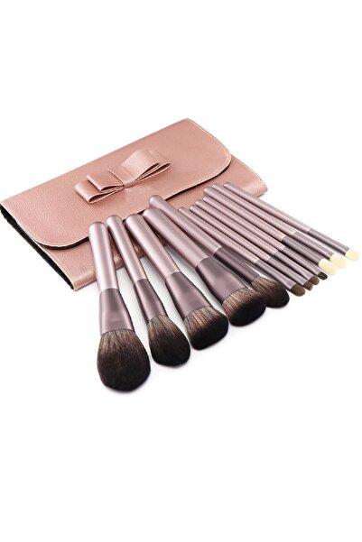 HANNAH Rose Gold Keçi Kılı Fırça Seti 12 Parça Ve Harika Çantalı