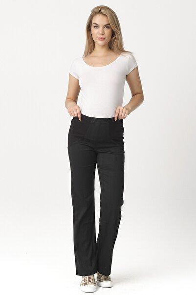 DEKONS Kadın Siyah Çizgili Çift Düğmeli Gabardin Kumaş Hamile Pantolon