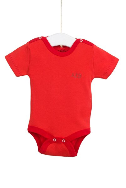 Aziz Bebe Unisex Bebek Kırmızı Kısa Kollu Çıtçıtlı Badi 0-12 Ay Azz001725-2