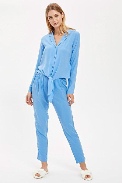 DeFacto Fit Kadın Lt.Blue Önden Bağlamalı Gömlek Tasarımlı Pijama Takımı S1738AZ20AU