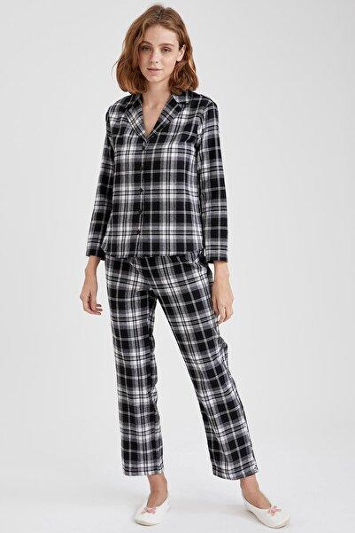 DeFacto Fit Kadın Siyah Ekoseli Gömlek Tasarımlı Pijama Takımı